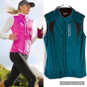 Athleta Teal Fitted Running Ruffle Vest Size Large